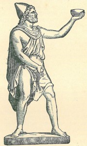 Cyclops holding a drinking cup aloft