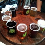 pints of Lafayette Brew Co. beer arranged in a circle4