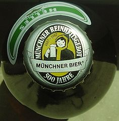 Munich beer cap claiming the Reinheitsgebot