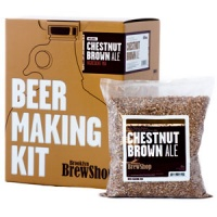 The box for the Chestnut Brown Ale kit, and a bag of malt.