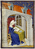illumination of woman writing from 1414