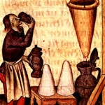 medieval man tasting hypocras as he's making it; hippocratic sleeve before him dripping into great pitcher, two loaves of sugar on a table by his side