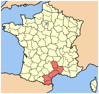 Map of France showing Languedoc-Roussillon on southeast coast