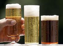 Three beer glasses: one with a short stem, the other two cyclindrical, one quite short