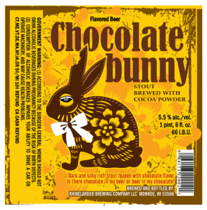 label for Chocolate Bunny stout brewed with cocoa posder from Rhinelander Brewing Co.