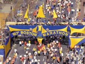 The start of the 103rd running of the Boston Marathon