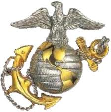 eagle on top of a globe with an anchor behind; logo of USMC