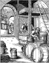 line drawing of men with giant barrels and big tub: 16th c brewery