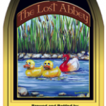 label showing two rubber ducks and a redheaded goose on a river