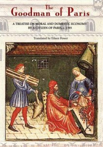 Cover of The Goodman of Paris, showing a medieval man and his wife and a servant