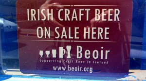 Window sticker from Beoir saying Irish Craft Beer On Sale Here